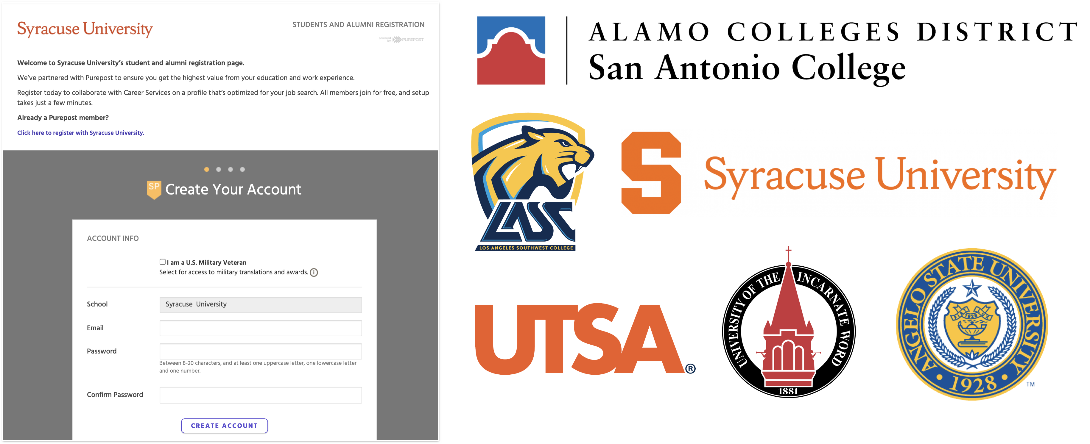 University Registration Page and School Logos